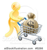 Vector Illustration of a 3d Gold Man Pushing a Money Bag in a Shopping Cart by AtStockIllustration