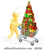 Vector Illustration of a 3d Gold Man Pushing a Shopping Cart Full of Presents by AtStockIllustration