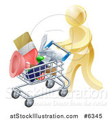 Vector Illustration of a 3d Gold Man Pushing a Shopping Cart Packed with Tools by AtStockIllustration