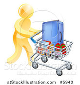 Vector Illustration of a 3d Gold Man Pushing Travel Accessories in a Shopping Cart by AtStockIllustration