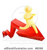 Vector Illustration of a 3d Gold Man Running on a Red Arrow by AtStockIllustration