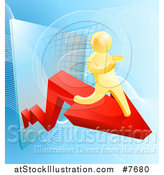Vector Illustration of a 3d Gold Man Running on a Red Arrow over Graphs on Blue by AtStockIllustration