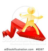 Vector Illustration of a 3d Gold Man Running on a Red Growth Arrow by AtStockIllustration