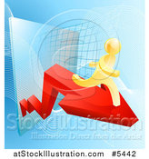 Vector Illustration of a 3d Gold Man Running on an Arrow over a Grid by AtStockIllustration