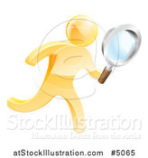 Vector Illustration of a 3d Gold Man Running with a Magnifying Glass by AtStockIllustration