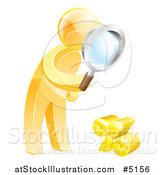 Vector Illustration of a 3d Gold Man Searching for a Low Percentage Rate by AtStockIllustration
