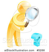 Vector Illustration of a 3d Gold Man Searching for Answers with a Magnifying Glass by AtStockIllustration