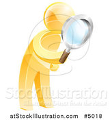 Vector Illustration of a 3d Gold Man Searching with a Magnifying Glass by AtStockIllustration