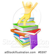 Vector Illustration of a 3d Gold Man Sitting on a Stack of Books and Cheering by AtStockIllustration