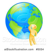 Vector Illustration of a 3d Gold Man Thinking by an Earth Globe by AtStockIllustration