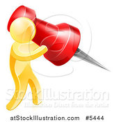 Vector Illustration of a 3d Gold Man Using a Giant Red Pin by AtStockIllustration