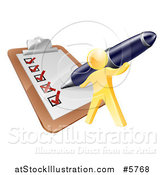 Vector Illustration of a 3d Gold Man Using a Pen to Check off a List by AtStockIllustration