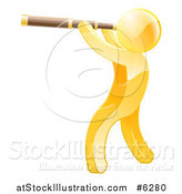 Vector Illustration of a 3d Gold Man Viewing Through a Spyglass Telescope by AtStockIllustration