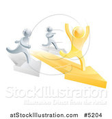 Vector Illustration of a 3d Gold Man Winning a Race on Arrows Against Silver Men by AtStockIllustration