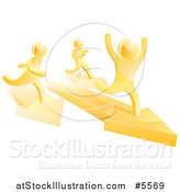 Vector Illustration of a 3d Gold Man Winning a Race on Arrows by AtStockIllustration