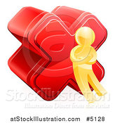 Vector Illustration of a 3d Gold Man with a Red Cross X Mark by AtStockIllustration