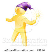 Vector Illustration of a 3d Gold Man Wizard with a Magic Wand by AtStockIllustration