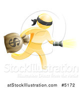 Vector Illustration of a 3d Gold Masked Robber Running with a Money Bag and Flashlight by AtStockIllustration