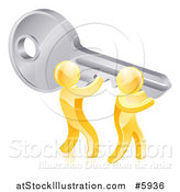 Vector Illustration of a 3d Gold Men Holding up a Giant Key by AtStockIllustration