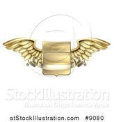 Vector Illustration of a 3d Gold Metal Heraldic Winged Shield with a Blank Banner Ribbon by AtStockIllustration