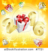 Vector Illustration of a 3d Gold New Year 2016 with Gifts over a Starburst by AtStockIllustration