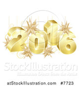 Vector Illustration of a 3d Gold New Year 2016 with Suspended Star Ornaments by AtStockIllustration