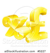 Vector Illustration of a 3d Gold Percent and Pound Sterling Currency Symbols by AtStockIllustration