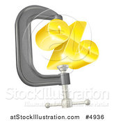 Vector Illustration of a 3d Gold Percent Symbol in a Clamp by AtStockIllustration