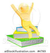 Vector Illustration of a 3d Gold Person Cheering and Sitting on a Stack of Books by AtStockIllustration