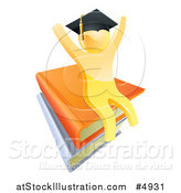 Vector Illustration of a 3d Gold Person Graduate Cheering and Sitting on a Stack of Books by AtStockIllustration