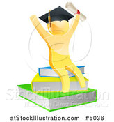 Vector Illustration of a 3d Gold Person Graduate with a Diploma, Cheering and Sitting on a Stack of Books by AtStockIllustration