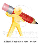 Vector Illustration of a 3d Gold Person Holding a Giant Red Pencil by AtStockIllustration
