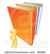 Vector Illustration of a 3d Gold Person Looking up at Giant Books by AtStockIllustration