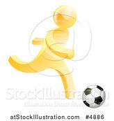 Vector Illustration of a 3d Gold Person Playing Soccer by AtStockIllustration