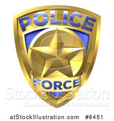 Vector Illustration of a 3d Gold Plice Force Badge with a Star by AtStockIllustration