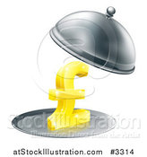 Vector Illustration of a 3d Gold Pound Sterling Symbol on a Silver Platter Under a Cloche by AtStockIllustration
