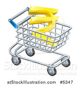 Vector Illustration of a 3d Gold Rupee in a Shopping Cart by AtStockIllustration