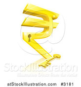Vector Illustration of a 3d Gold Rupee Symbol Lock and Skeleton Key with a Reflection by AtStockIllustration