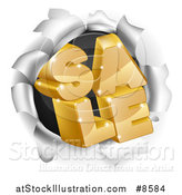 Vector Illustration of a 3d Gold Sale Text Breaking Through a Hole in a Wall by AtStockIllustration