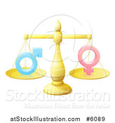 Vector Illustration of a 3d Gold Scale Balancing Gender Symbols by AtStockIllustration