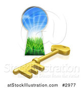 Vector Illustration of a 3d Gold Skeleton Key and Hole with Sunshine and Grass by AtStockIllustration