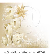 Vector Illustration of a 3d Gold Snowflake Background with Year 2016 and Baubles by AtStockIllustration