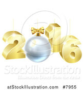 Vector Illustration of a 3d Gold Suspended New Year 2016 Design with a Bauble by AtStockIllustration