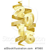 Vector Illustration of a 3d Gold Suspended New Year 2016 Design with a Text Banner by AtStockIllustration