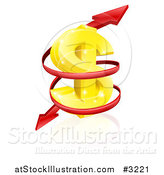 Vector Illustration of a 3d Gold USD Dollar Symbol with a Spiraling Red Arrow by AtStockIllustration