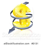 Vector Illustration of a 3d Gold USD Dollar Symbol with Falling Arrow Spiraling down by AtStockIllustration
