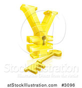 Vector Illustration of a 3d Gold Yen Lock with a Skeleton Key and Reflection by AtStockIllustration