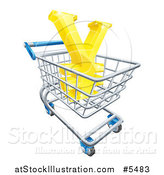 Vector Illustration of a 3d Gold Yen with a White Outline, in a Shopping Cart by AtStockIllustration