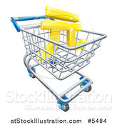 Vector Illustration of a 3d Gold Yuan Currency Symbol in a Shopping Cart by AtStockIllustration