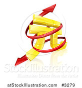 Vector Illustration of a 3d Gold Yuan Symbol with a Spiraling Red Arrow by AtStockIllustration